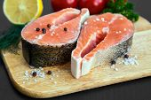 picture of salmon steak  - close - JPG