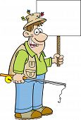 foto of rod  - Cartoon illustration of a fisherman holding a fishing rod and a sign - JPG
