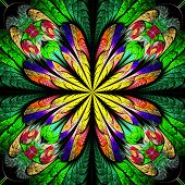 picture of symmetrical  - Multicolored symmetrical fractal flower in stained - JPG