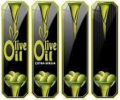 image of virginity  - Collection of four labels with green olives and oil text Olive oil and Extra virgin - JPG