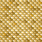 picture of scale  - Seamless gold polygonal river fish scales - JPG