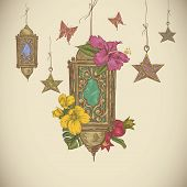 foto of moon-flower  - Traditional greeting card with arabic lantern and flowers - JPG