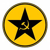 stock photo of communist symbol  - Communism star button on white background - JPG
