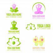Logo, badge, label, logotype elements with pose for web, business, yoga, fitness or other projects poster