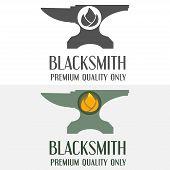 stock photo of blacksmith shop  - Set of logo and logotype elements for blacksmith - JPG