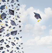 picture of opposites  - Individual education concept or individualized learning plan symbol as a group of mortar hats or graduation caps flying in the air and a single graduate hat flying alonev in the opposite direction - JPG