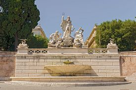 stock photo of trident  - Fountain of Neptune is a monumental fountain located in the Piazza del Popolo in Rome - JPG