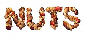 picture of pecan tree  - Nuts symbol as letters made with a mixed assortment of raw seeds pecan with walnut brazil nut peanuthazelnut pistachio almond and cashew as a healthy food symbol and nutritious protein isolated on a white background - JPG