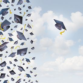 foto of opposites  - Individual education concept or individualized learning plan symbol as a group of mortar hats or graduation caps flying in the air and a single graduate hat flying alonev in the opposite direction - JPG