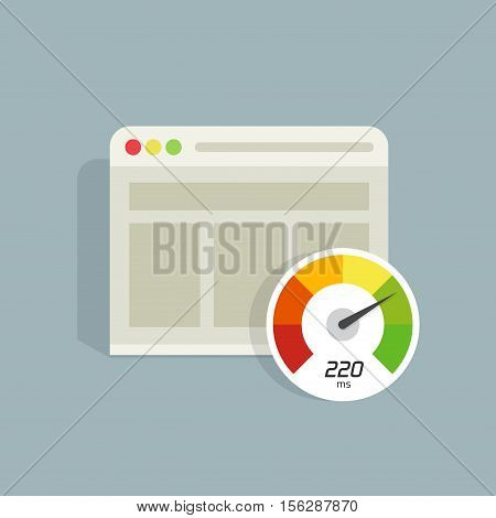 poster of Website speed loading time vector icon isolated, web browser with speedometer test showing fast good page loading time illustration, seo analyzer, optimization, performance