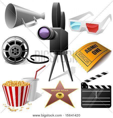 Постер, плакат: Кино символы векторный набор изолированные на белом , холст на подрамнике