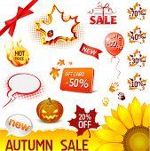 vector autumn sale icons set