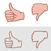thumbs up or thumbs down as approval or disapproval icons vector