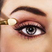 Woman with pink makeup
