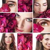 stock photo of flower girl  - Collage of several photos for beauty industry - JPG