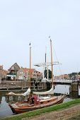 Village Enkhuizen near the landmark Dromedaris and bridge