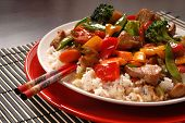 Asian Pork Stir Fry With Chop Sticks