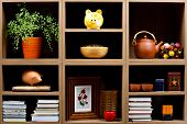 Beautiful wooden shelves with different  objects
