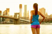 New York city lifestyle active people living an urban active life. Fitness healthy woman runner rela poster