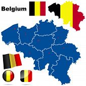 Belgium vector set. Detailed country shape with region borders, flags and icons isolated on white ba