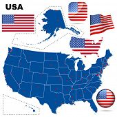 USA vector set. Detailed country shape with region borders, flags and icons isolated on white background.