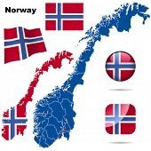 Norway vector set. Detailed country shape with region borders, flags and icons isolated on white bac