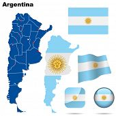 Argentina vector set. Detailed country shape with region borders, flags and icons isolated on white