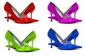 Woman Shoes Of Four Different Colors Isolated On White