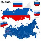 Russian Federation  vector set. Detailed country shape with region borders, flags and icons isolated on white background.