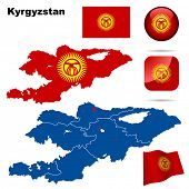 Kyrgyzstan vector set. Detailed country shape with region borders, flags and icons isolated on white background.