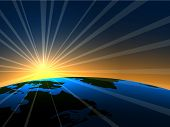Raum Sonnenaufgang über Erde Hintergrund. EPS10-Datei.