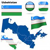 Uzbekistan vector set. Detailed country shape with region borders, flags and icons isolated on white background.