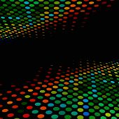 Disco style colorful halftone background with black copy space.