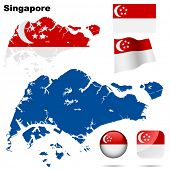 Singapore vector set. Detailed country shape with region borders, flags and icons isolated on white background.