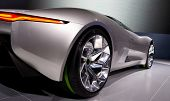 PARIS, FRANCE - SEPTEMBER 30: Paris Motor Show on September 30, 2010, showing Jaguar C-X75, rear-sid