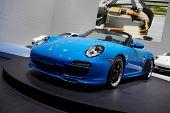 PARIS, FRANCE - SEPTEMBER 30: Paris Motor Show on September 30, 2010, showing Porsche 911 Speedster, front view