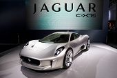 PARIS, FRANCE - SEPTEMBER 30: Jaguar C-X75 at Paris Motor Show on September 30, 2010 in Paris