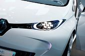 PARIS, FRANCE - SEPTEMBER 30:front detail view of Renault Zoe Preview at Paris Motor Show on Septemb