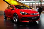 PARIS, FRANCE - SEPTEMBER 30:Opel Astra GTC at Paris Motor Show on September 30, 2010 in Paris