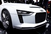 PARIS, FRANCE - SEPTEMBER 30: Paris Motor Show on September 30, 2010 in Paris, showing Audi quattro concept, front closeup view