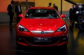 PARIS, FRANCE - SEPTEMBER 30: Paris Motor Show on September 30, 2010 in Paris, showing Opel Astra GTC, front view