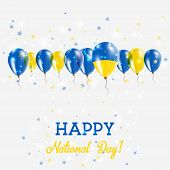 Постер, плакат: Ukraine Independence Day Sparkling Patriotic Poster Happy Independence Day Card With Ukraine Flags