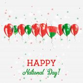 Постер, плакат: Oman Independence Day Sparkling Patriotic Poster Happy Independence Day Card With Oman Flags Confe