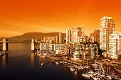 Bright Orange Sunset over the city of Vancouver