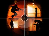 stock photo of drug addict  - Coloured silhouettes of a troubled teenager in the crosshair - JPG
