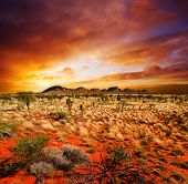 image of landscapes beautiful  - Sunset over a central Australian landscape - JPG