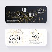Постер, плакат: Gift Voucher Template With Gold Gift Box Gift Certificate Background Design Gift Coupon Voucher