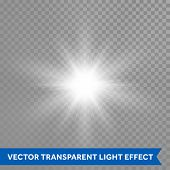 Sunlight on transparent vector background. Glowing sun light effects. Star sun flash explosion. Ray  poster