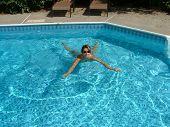 Woman, Swiming In Pool