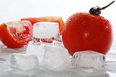 Ice Cubes And Tomato